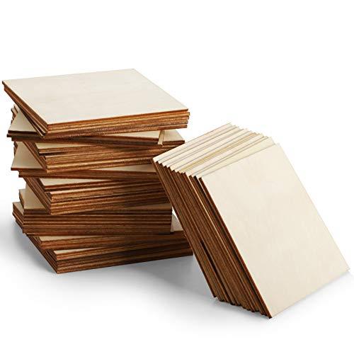 Tablero de madera sin terminar, 55 piezas de 10,16 cm x 10,16 cm, cuadradas de madera para manualidades, pintura, azulejos de Scrabble, posavasos, pirografía, decoraciones