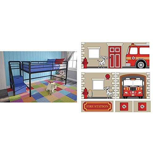 DHP Junior Twin Metal Loft Bed with Storage Steps, Space-Saving Solution, Multifunctional, Black with Blue Steps & Fire Department Design Curtain Set for Junior Loft Bed, Kids Furniture, Blue