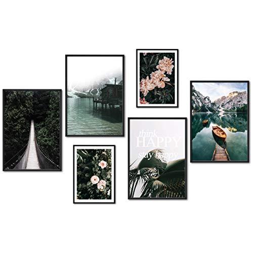 myestado® - Premium Poster Set Bilder Wohnzimmer Modern Schlafzimmer Bild für Ihre Wand - ohne Rahmen - 4 x DIN A3 & 2 x DIN A4 - ca. 30x40 & 20x30 » Brücke «