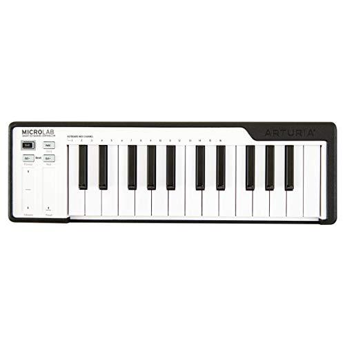 ARTURIA Microlab Black Controller Tastatur, 25 Tasten, Mini-Midi, USB, Farbe Schwarz