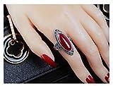 CHXISHOP Anillo de plata de ley 925 con piedra de ágata, joyería vintage de palacio con apertura ajustable, anillo de piedra preciosa grande es el mejor regalo para novia.