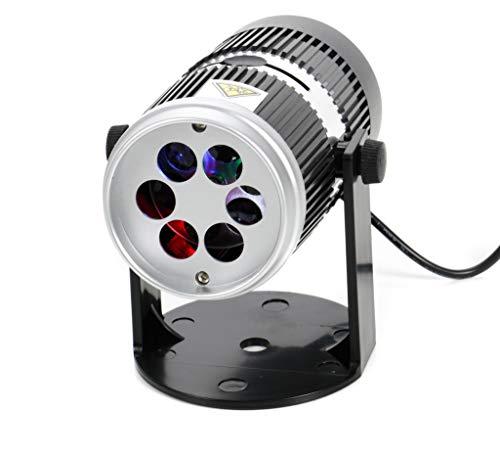 LED Projektor, 4 LEDs, wechselnde Farben durch Drehscheibe, zusätzlich 4 Muster-Schablonen für verschiedene Anlässe, kippbar ca. 300°, LED-Kabel oder Batteriebetrieb