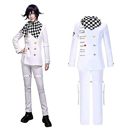 Deciduous Kokichi Ouma Cosplay Costume Danganronpa Jeu de rôle garçons Uniforme Scolaire Halloween Costume Anime Homme Costume Party Carnival Tenues,Blanc,S