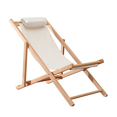 Jia He Klappsessel Weiße Baumwolle und Leinen Outdoor tragbare Massivholz Klappstuhl Home Recliner ältere Rest Stuhl Sommer durch den kühlen Stuhl Strandkorb, um den Sonnenuntergang zu sehen, 2 Arten