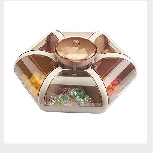 YANGYUAN Caja de almacenamiento de aperitivos, bandeja para servir aperitivos con tapa, caja de almacenamiento de frutas secas con compartimentos, apto para frutos secos y dulces