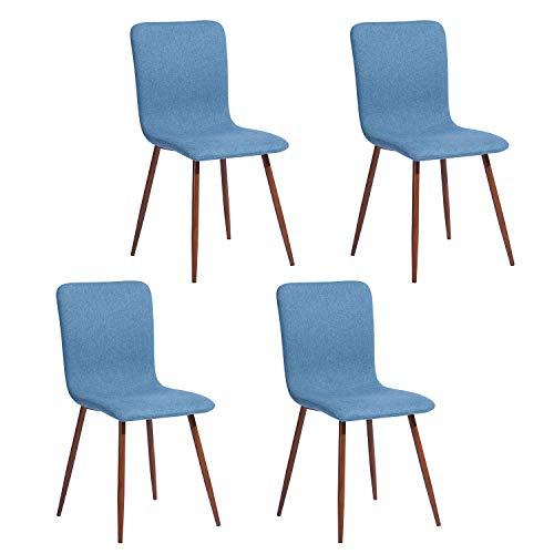 FurnitureR Set de 4 sillas de comedor de cocina, ensamble los 4 en 5 minutos, sillas laterales de cojín…
