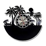 LKJHGU Reloj de Pared con Disco de Vinilo Retro de Surf Reloj de Pared de Playa de Verano Surf decoración del hogar