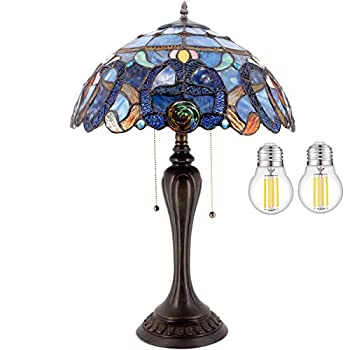 Tiffany Lamp Stained Glass Style Bedside Table Lamp W16H24 Inch LED Bulb Included Blue Purple Cloud Crystal Flower Shade S558 WERFACTORY Lamps Lover Friend Livingroom Bedroom Coffee Bar Art Craft Gift