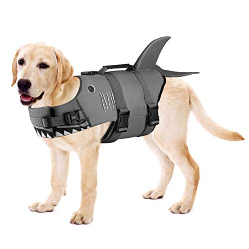 Petacc Dog Life Jacket Pet Floatation Vest Dog Lifesaver Dog Life Preserver for Water Safety at The Pool, Beach, Boating (L, Shark)