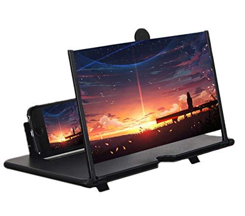 STEBRUAM 12 Zoll Handy Lupe,3D Bildschirm Vergrößerungsglas für das Ansehen von Filmvideos,Faltbarer Handylupe Bildschirm Vergrösserung für alle Smartphones(schwarz)