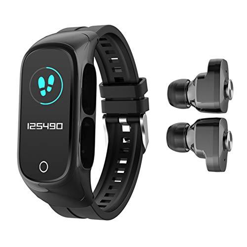 Reloj inteligente 2 en 1 con auriculares TWS Bluetooth 5.0, rastreador de fitness, pulsera de actividad, contador de calorías, podómetro, para hombres y mujeres