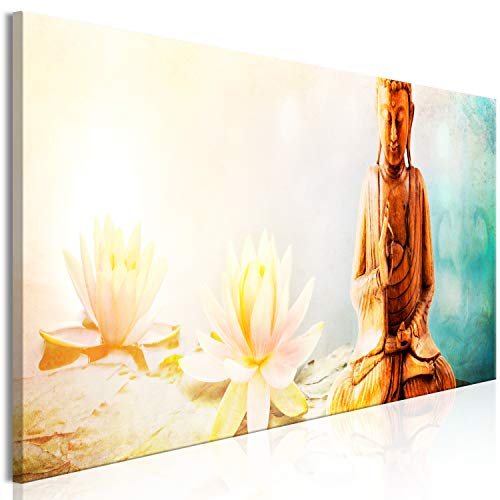 murando Cuadro en Lienzo Buda 135x45 cm Impresión de 1 Pieza Material Tejido no Tejido Impresión Artística Imagen Gráfica Decoracion de Pared - Feng Shui Zen SPA Flores Lirios p-C-0039-b-a