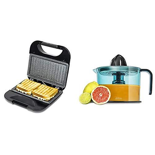 Cecotec Rock'nToast Sandwich Squared - Sandwichera con Revestimiento Antiadherente + Zitrus Easy Inox - Exprimidor Eléctrico, Filtro de Acero Inoxidable, Tambor de 1 Litro, BPA Free