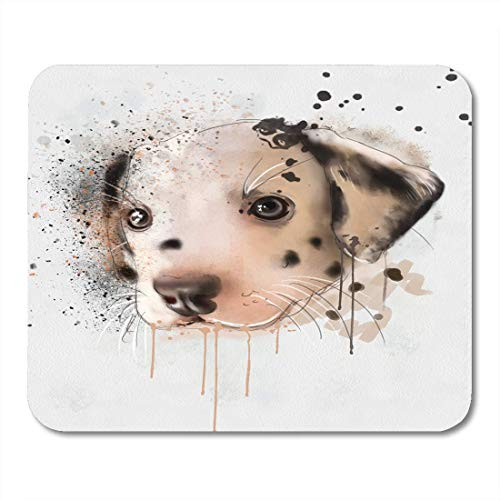 AOHOT Mauspads Watercolor Baby Animal Collection Dalmations Portrait Puppy Bird Black Mouse pad 9.5