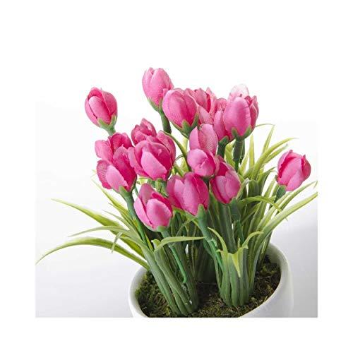 Home Line Planta Tulipanes Artificiales con Maceta. - Rosa