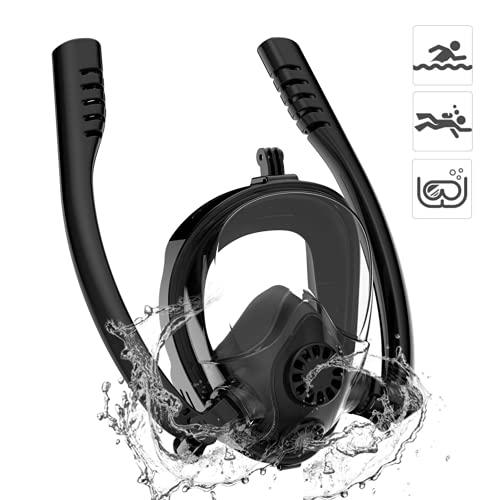 Máscara de snorkel de cara completa, sistema de respiración de agua anti-filtración superior seca de doble tubo, máscara de buceo antivaho, máscara de snorkel panorámica de 180 ° con vista al mar,L/XL
