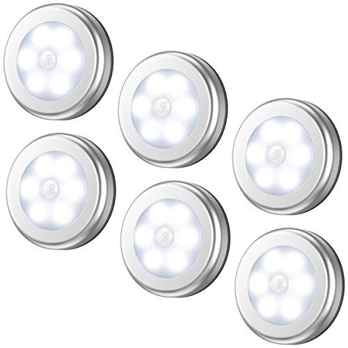最新版 AMIR ledセンサーライト 室内 人感センサー 乾電池式 led ライトライト 明暗センサー 小型 マグネット テープ付き 階段車庫 フットライト 天井照明 6個セット 銀色
