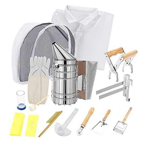 BITOWAT Kit di Attrezzi per l'apicoltura, 13 Pezzi di Equipaggiamento Protettivo per l'apicoltura, Kit di Attrezzatura per l'apicoltura Accessorio per Avviamento Alveare,Strumenti per l'alveare