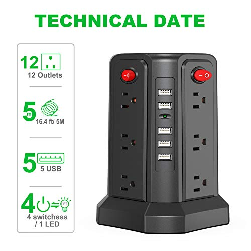 SMALLRT Surge Protector Power Strip 16.4FT/5M 5 USB Ports 12 Outlet Power Strip with USB Long Cord Outlet Surge Protector Tower Overload Protection, Short Circuit Protection 3
