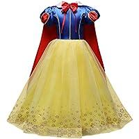 OBEEII Blancanieves Disfraz con Capa Snow White Carnaval Traje de Princesa Cuentos Infantiles para Halloween Navidad Fiesta Ceremonia Aniversario Cosplay Costume para Niñas Chicas 3-4 Años