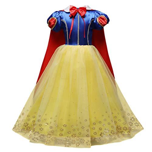 IWEMEK Mädchen Schneewittchen Kleid Magie Prinzessin Cosplay Kostüm Kinder Fancy Dress Up Grimms Märchen Kostüme Kleider mit Umhang Partykleid Faschingskostüm für Karneval Halloween Blau 5-6