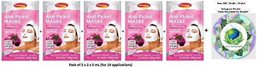 Schaebens Anti-Pickel Gesichtsmaske - mit Teebaumöl, pflanzlichem Wirkkomplex, Panthenol - (5 x 2 Einheiten. 5 mL je Einheit - Für 10 Anwendungen) - bei unreiner und fettiger Haut