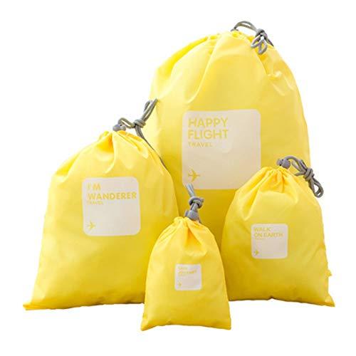 Bolsas de almacenamiento de viaje, Sistema de 4pcs Bolsas almacenaje de la ropa a prueba de agua de viaje Accesorios de viaje organizadores Bolsas del cable Artículos de higiene cosmética Bolsas de al