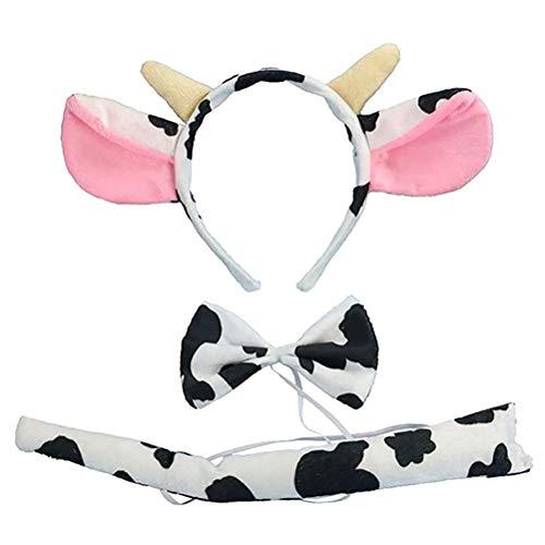 Kooshy Dibujos Animados de Vaca lechera Orejas y Cuernos Diseo Diadema Tie Tail Hairband Disfraz de Vaca Conjunto Regalo de invitado para Cosplay Fiesta Rendimiento para nios