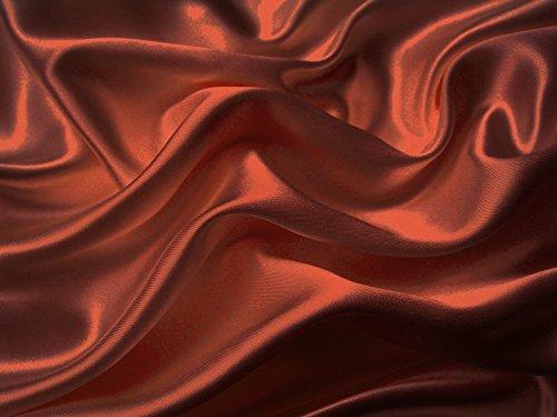 HGS 4-Pc 400TC Satin Bed Sheet Pillowcase Set DP Lingerie Silky Charmeuse Rust Orange Brick Spice Copper Queen