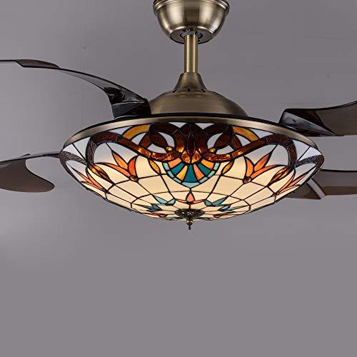 Ventilador de techo Tiffany Estilo invisible con 4 cuchillas de iluminación, luz pendiente del vidrio manchado barroco Pantalla LED de atenuación con mando a distancia,Bronze 42in * remote control