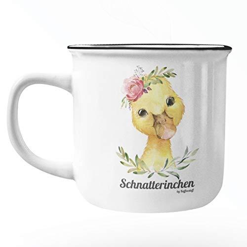 Kaffeestoff Emaille Tasse 350 ml/Camping Tasse mit Ente/Trinkbecher Kinder/lustige Geschenke oder als Küchen Deko und Vintage Deko Mug