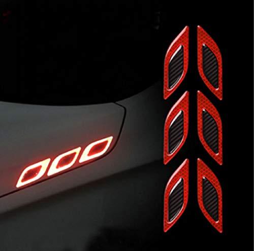 TRUE LINE Automotive Carbon Fiber Reflective Door Fender Flare Marker Trim Molding 6PC (Outer Red)