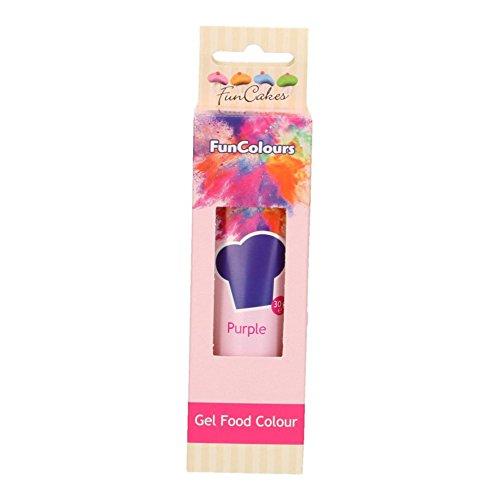 FunCakes FunColours Colorante en Gel Superconcentrado Comestible Insaboro para todo tipo de Cremas y Masas Color Purple Morado 30g FC50050