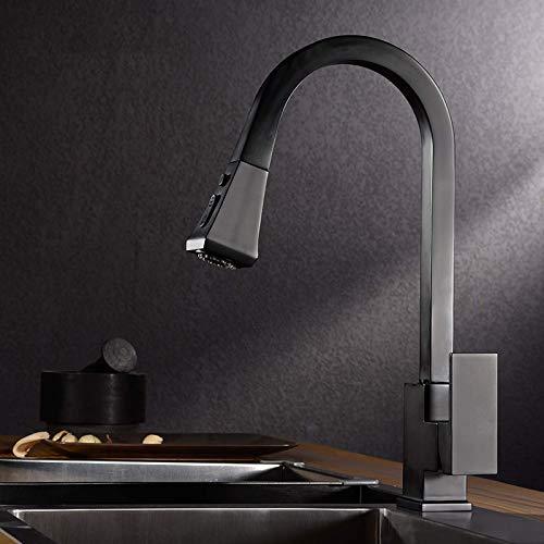 Mate Negro Pull out Sensor de Cocina grifos de Cocina de Acero Inoxidable de inducción Inteligente Mixto Grifo Rotate Touch Control Sink Tap