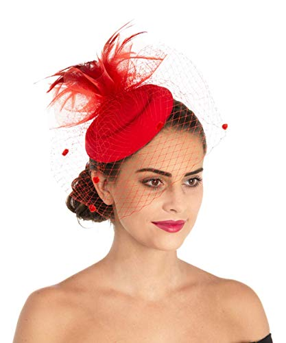 Lucky Leaf Girl Lady Hat Headwear Organza Church Feather Clip Fascinators Hat Wedding Party Kentucky Derby Cap for Women (6-Red)