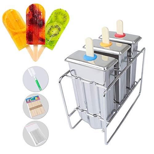 NIERBO 3er Eisformen EIS am Stiel Formen Popsicle Formen Mulden Stieleisform EIS Edelstahlform für Kinder Erwachsene EIS DIY Sommer, mit 50 Holzstielen+1 Bürste+3 Eisbeutel