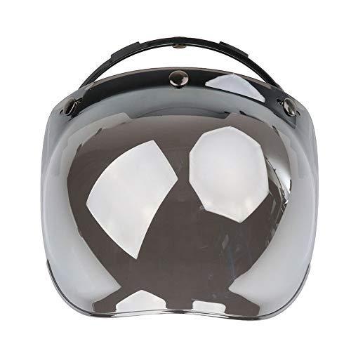 Bubble Visier Jethelm Anti-nebel mit Halterung Staubdicht Kratzfest Klapphelm Universal Windschutz Vintage 3 Snap Reiten Uv-Schutz (Silber Beschichtung) - Silber Beschichtung