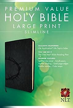 Premium Value Slimline Bible Large Print NLT Crown  LeatherLike Onyx