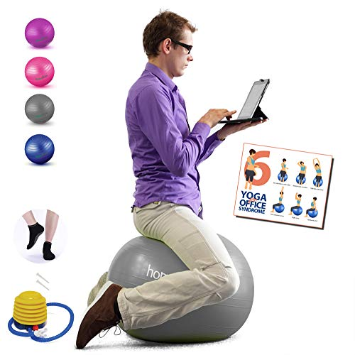 Homecircles Yoga Ball Chairs for The Office - 65cm Premier Anti-Burst Yogaball with Grip Socks & PDF Exercise Ball Guide, Gym Quality Balance & Stability Ball Chair for Office - Gray