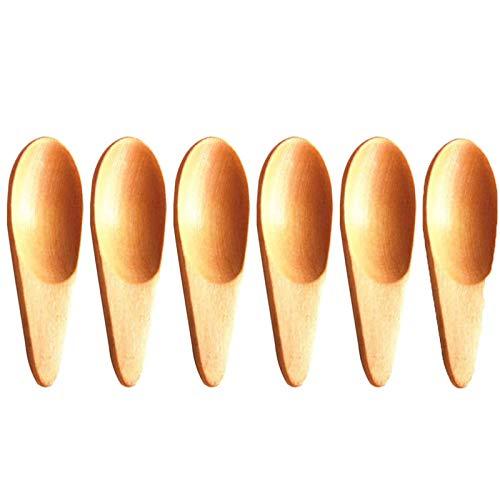 junao 6 Piezas Mini Cuchara de Madera, Cucharillas de Madera para Sales, Cucharas Pequeñas de Madera, Adecuada para Mermelada de Miel, Sal, Azúcar