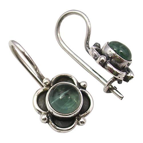 """SilverStarJewel Sterling Silver Green Apatite Old Style Earrings 0.7"""" Fashion Jewelry"""