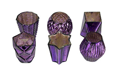 Metallic Amethyst Color Mercury Glass Votive Candle Holders Set of 6 in Assorted Shapes