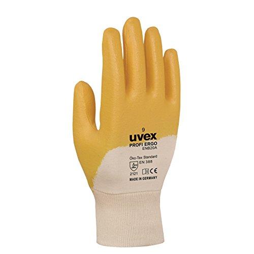 Uvex profas Nitril-Kautschuk Profi Ergo Schutzhandschuhe 9 Handrücken offen Weiß, Orange
