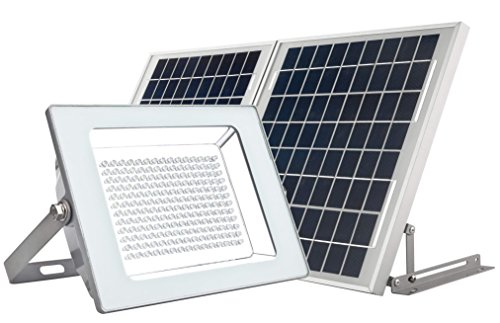 MicroSolar - Super Bright !!! - Lithium Battery - 180 LED IP65 Solar Floodlight --- 20W Solar Panel --- Automatically Working from Dusk to Dawn at Good Sunshine // Wall mounted or Ground Mounted