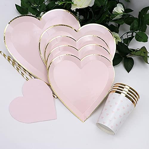 PPuujia Vajilla desechable 65 unids/lote oro rosa desechables vajilla platos de papel tazas pajitas fiesta boda cumpleaños carnaval día de San Valentín suministros decoración