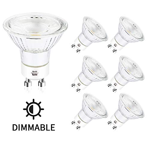 Albrillo 6er Pack Dimmbar GU10 LED Lampe - 5W 500LM Ersetzt 60W Halogen lampen, Warmweiß 3000K, Kein Flackern GU10 Reflektorlampe, 120° Ausstrahlungswinkel Spotlight für Wohnzimmer, Schlafzimmer, Büro