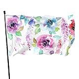 N/A Garten Flagge,Willkommensflagge,Aquarell-Blumengarten-Fahne Große 3X5Ft Vertikale Außenhaus-Dekor-Hof-Feier-Prozession-Festival-Banner
