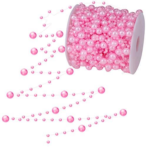 WILLBOND 99 Fuß Weihnachtsbaum Perlen Künstliche Perlen Girlande Kette Kunststoff Korn Rolle für DIY Weihnachten Hochzeit Dekoration (Rosa)