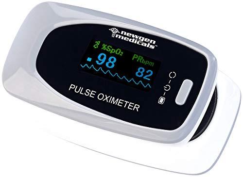 newgen medicals Sauerstoffmessgerät: Medizinischer Finger-Pulsoximeter m. LCD-Farbdisplay, hohe Genauigkeit (Pulsmesser)