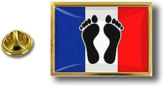 Akacha - Spilla in metallo con pinza a forma di farfalla, bandiera francese, piedi neri